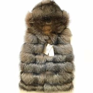 NWT Eleventy Fox Fur Reversible Puffer Vest XS NEW